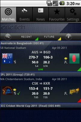 IPL cricket live score android app