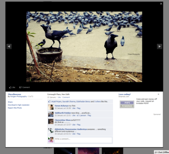 Facebook new photo viewer