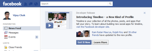 facebook new timeline invite