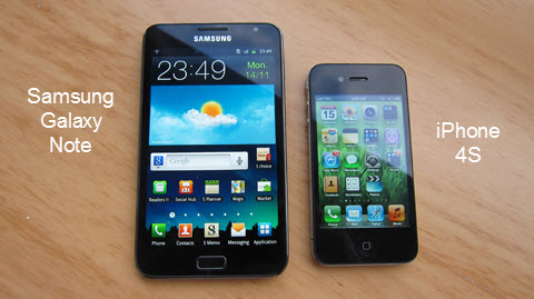 Samsung Galaxy Note vs iPhone 4s - Comparison