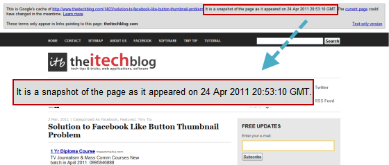 google cached page date and time