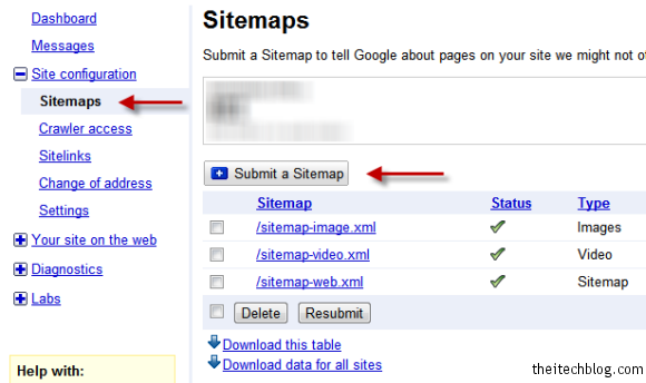 Google Webmaster Tools Submitting Sitemap