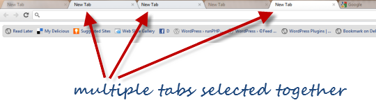 multiple tabs selected in chrome